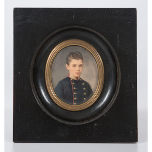 A Portrait Miniature on Ivory of a Young Boy
