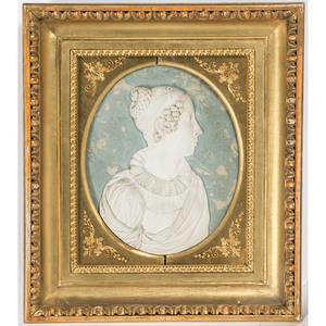 A Plaster Relief Portrait Plaque of a Woman