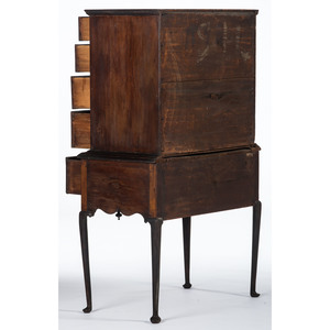 A New Hampshire Queen Anne Figured Maple and Pine Diminutive Flat-Top High Chest