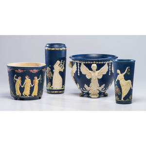 Four Weller Vases and Jardinieres with Neoclassical Motifs
