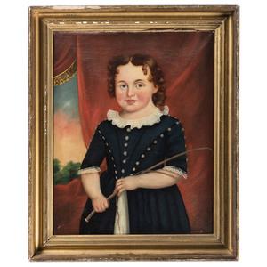 An American Folk Art Portrait of a Boy with Riding Crop