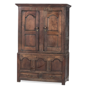 A George II Paneled Oak Ham Cupboard