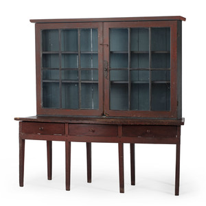 A Federal Painted Pine Bow-Front Display Cabinet