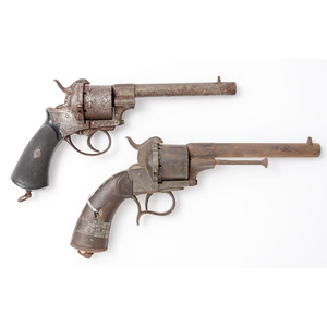 Lot of Two Relic French Pinfire Revolvers