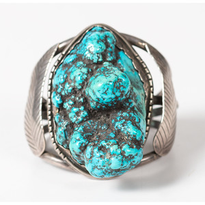 Navajo Silver and Turquoise Nugget Cuff Bracelet