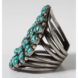 Navajo Silver and Turquoise Cluster Cuff Bracelet