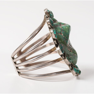Navajo Sterling Silver and Turquoise Nugget Cuff Bracelet