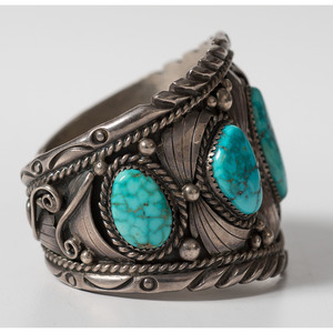 William Vandever (Dine, 20th century) Navajo Silver and Turquoise Cuff Bracelet