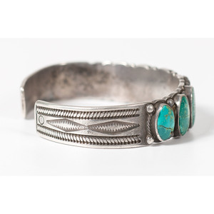 Navajo Silver and Turquoise Cuff Bracelet