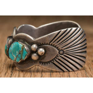 Carl Luthey Studio (act. 1956-1970's) Navajo Silver and Turquoise Cuff Bracelet