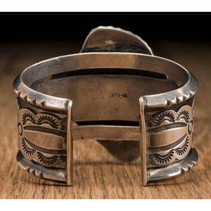 Carl Luthey Studio (act. 1956-1970's) Navajo Silver and Villa Grove Turquoise Cuff Bracelet