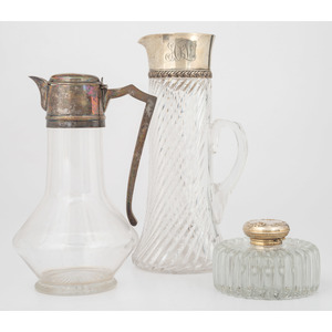Sterling-Mounted Glass Decanters and Inkwell