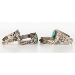 Fred Harvey Era Silver and Turquoise Cuff Bracelets