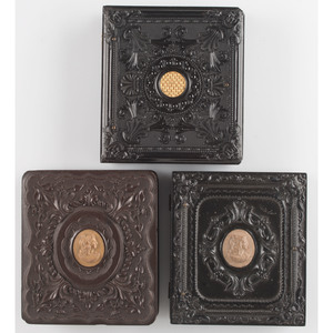 Very Rare and Rare Geometric Sixth Plate Union Cases with Cameos and Gilt Details, Lot of Three