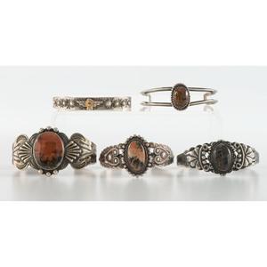 Navajo Silver, Petrified Wood, and Fire Opal Cuff Bracelets