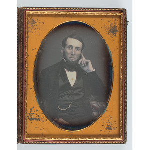Half Plate Daguerreotype of a Bearded Gentleman by Bogardus, Housed in a Patriotic Leather Case