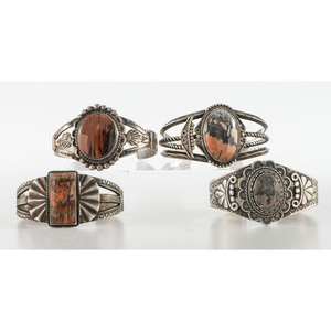 Maisel's Indian Trading Post (shop, 1923-1960's) Silver and Petrified Wood Cuff Bracelet PLUS