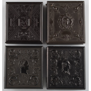 Figural Sixth Plate Union Cases Containing Daguerreotype Portraits, with One Very Rare Example, Lot of 7
