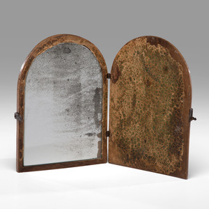 A Carved and Iron-Mounted Fruitwood Traveling Mirror