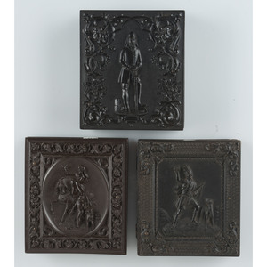 Three Rare Sixth Plate Figural Union Cases with Portraits of Men