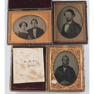 Trio of Quarter Plate Ambrotypes, Incl. Lovely Portrait of a Couple by Samuel Broadbent