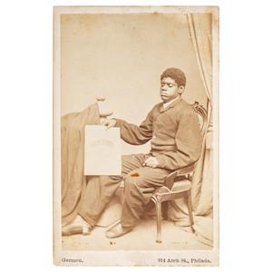Blind Tom CDV with The Rain Storm Sheet Music, ca 1868