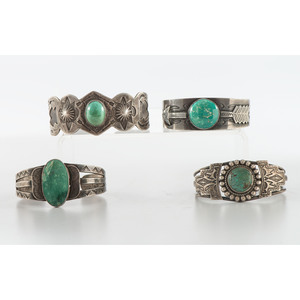 Navajo Stamped Silver and Turquoise Cuff Bracelets