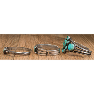 Navajo Silver and Turquoise Cluster Cuff Bracelets