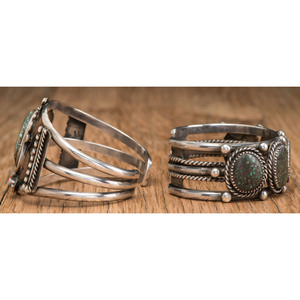 Navajo Silver and Turquoise Cuff Bracelets, ex Lynn Trusdell Collection (1938-2008), Pennsylvania