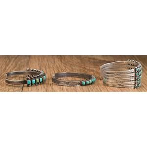 Zuni Silver and Petit Point Turquoise Cuff Bracelets
