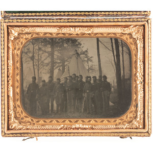 Quarter Plate Tintype of Cavalrymen at Camp