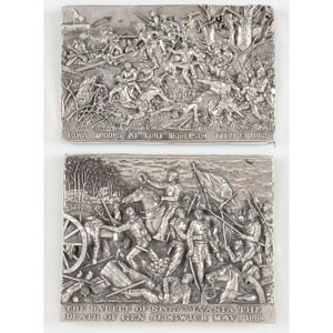 Henryk Winograd, Sterling Silver Repousse Panels of Fort Donelson and Spotsylvania