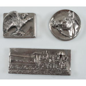 Henryk Winograd, Three Sterling Silver Paperweights, Incl. Train, Eagle, and Horse