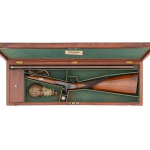 Cased Percussion Single-Shot Rifle by William Dooley