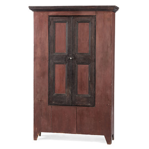 A Federal Red and Black Painted and Molded Pine Cabinet