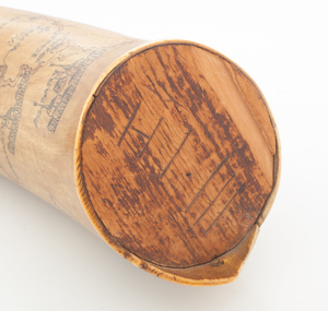 An Outstanding Mid 18th Century Engraved New York State Map Horn