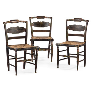 Three Classical Grain-Painted and Stencil-Decorated Hitchcock 'Eagle' Side Chairs