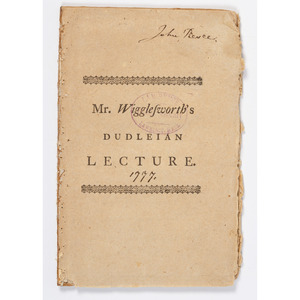 Early American Massachusetts Imprint Mr. Wigglesworth's Dudleian Lecture, Printed 1778
