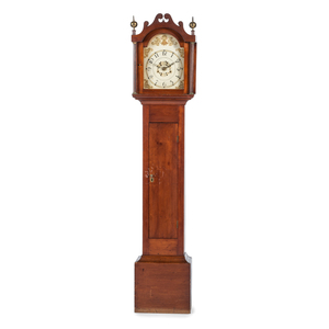 A Chippendale Carved Cherrywood, Gilt-Decorated Wooden Works Tall Case Clock