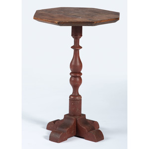 A Cross-Base Painted Wood Candlestand