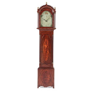 A Chippendale Grain-Paint Decorated Tall Case Clock