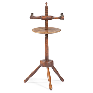 A Federal Cherrywood and Maple Adjustable Two-Light Candlestand