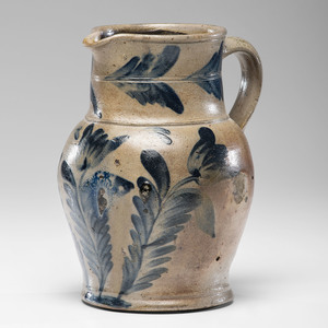 A Cobalt Flower-Decorated Stoneware Pitcher