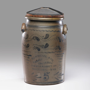 A Cobalt-Decorated 5-Gallon Stoneware Advertising Crock