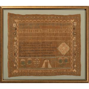 A Pictorial and Poem Needlework Sampler
