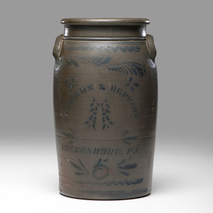 A Williams & Reppert Cobalt -Decorated 6-Gallon Stoneware Crock