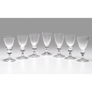 Seven Blown Glass Goblets