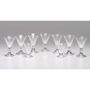 Nine Blown Glass Goblets