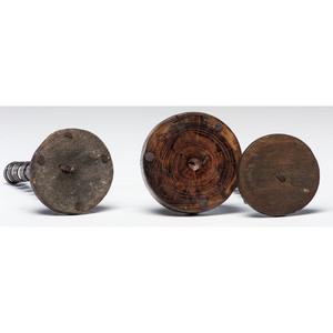 Three Wrought Iron Adjustable Spiral Candlesticks