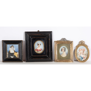A Group of Portrait Miniatures on Ivory